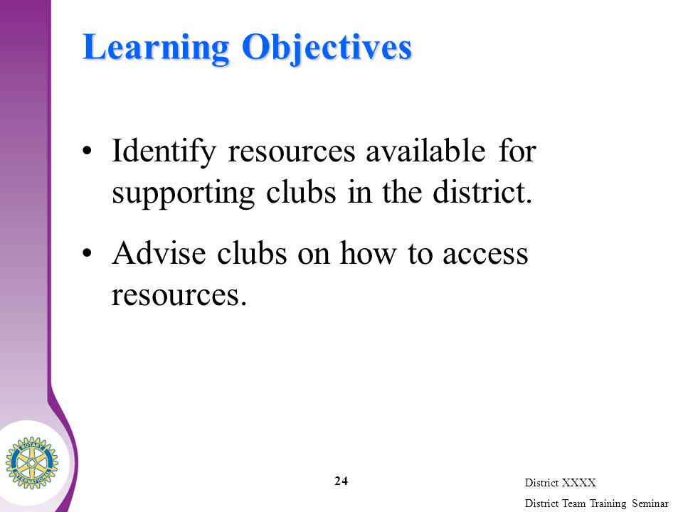 District XXXX District Team Training Seminar 24 Learning Objectives Identify resources available for supporting clubs in the district.