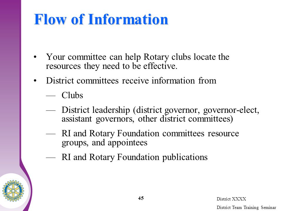 District XXXX District Team Training Seminar 45 Flow of Information Your committee can help Rotary clubs locate the resources they need to be effective.