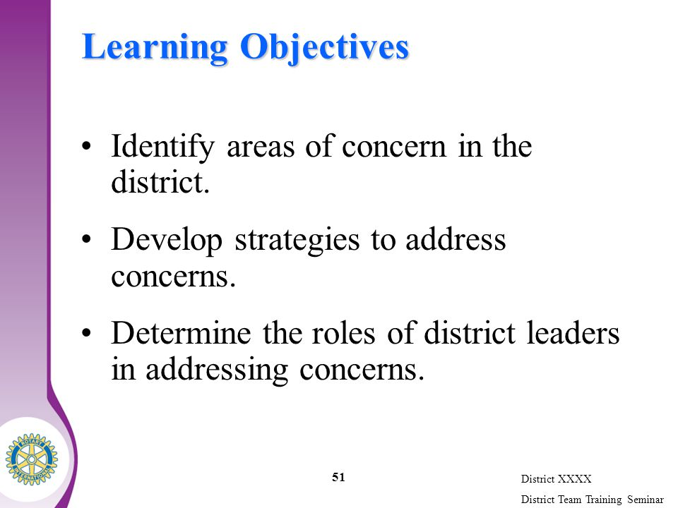 District XXXX District Team Training Seminar 51 Learning Objectives Identify areas of concern in the district.