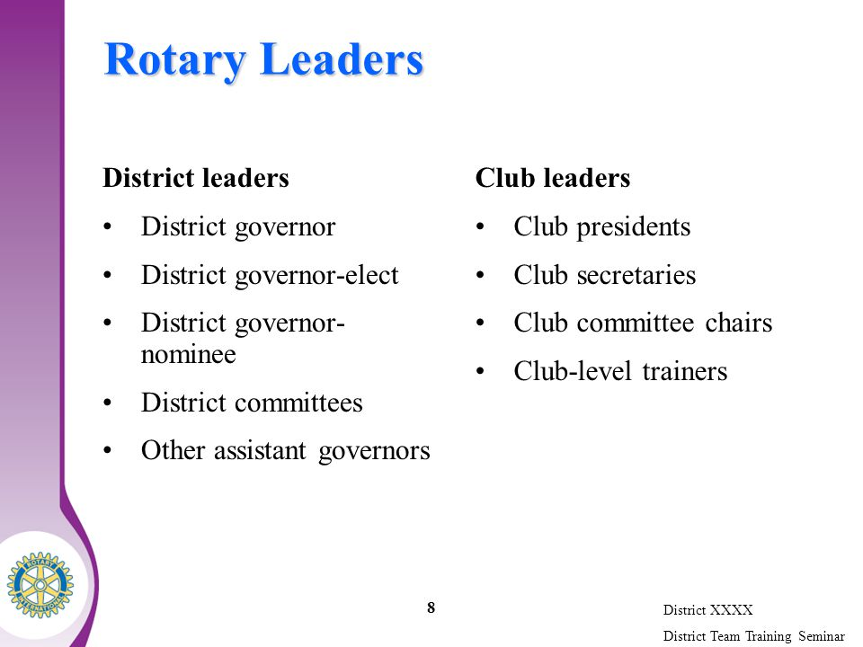 District XXXX District Team Training Seminar 8 Rotary Leaders District leaders District governor District governor-elect District governor- nominee District committees Other assistant governors Club leaders Club presidents Club secretaries Club committee chairs Club-level trainers