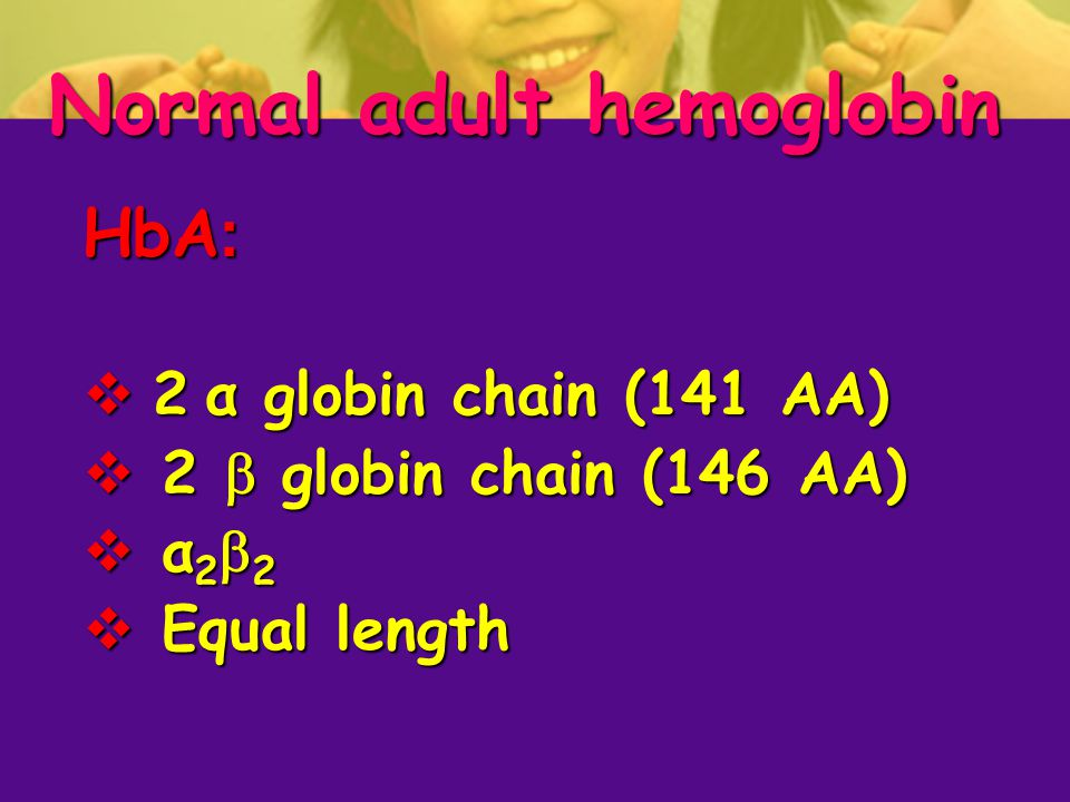 Normal adult hemoglobin HbA:  2 α globin chain (141 AA)  2  globin chain (146 AA)  α22 α22 α22 α22  Equal length