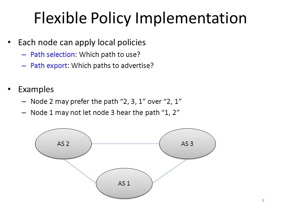 Flexible Policy Implementation Each node can apply local policies – Path selection: Which path to use.