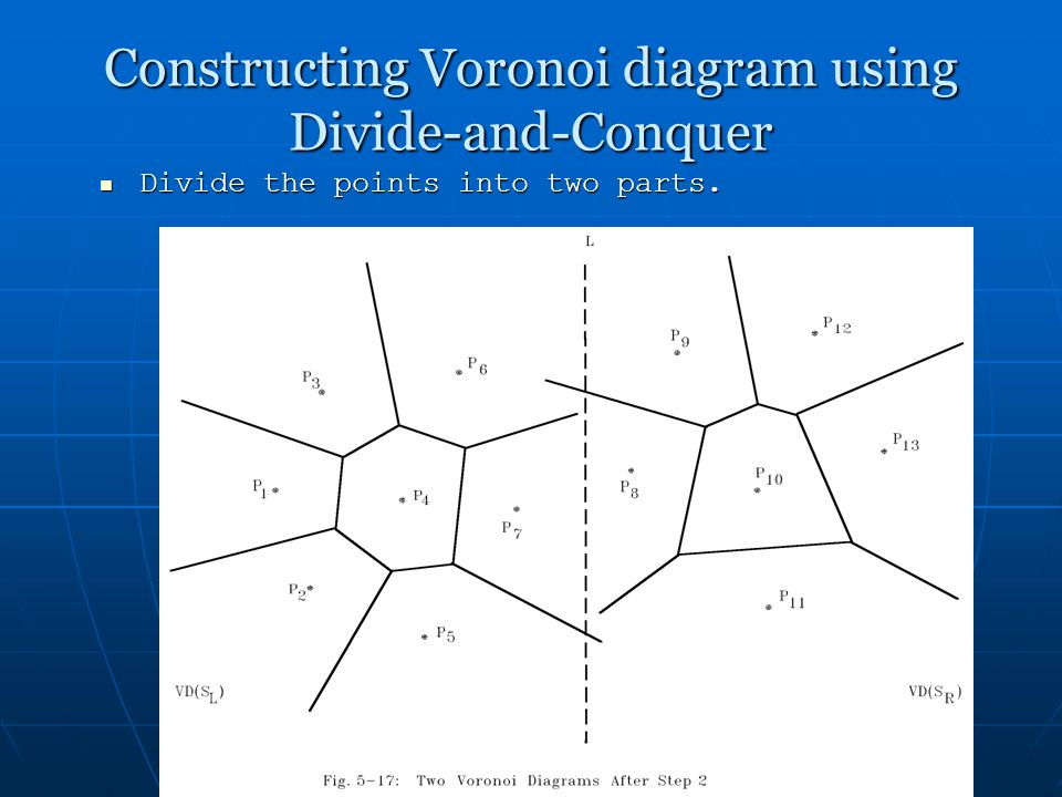 1 voronoi diagrams 2 voronoi diagram input a set of points 17 constructing voronoi diagram using divide and conquer divide the points into two parts ccuart Choice Image