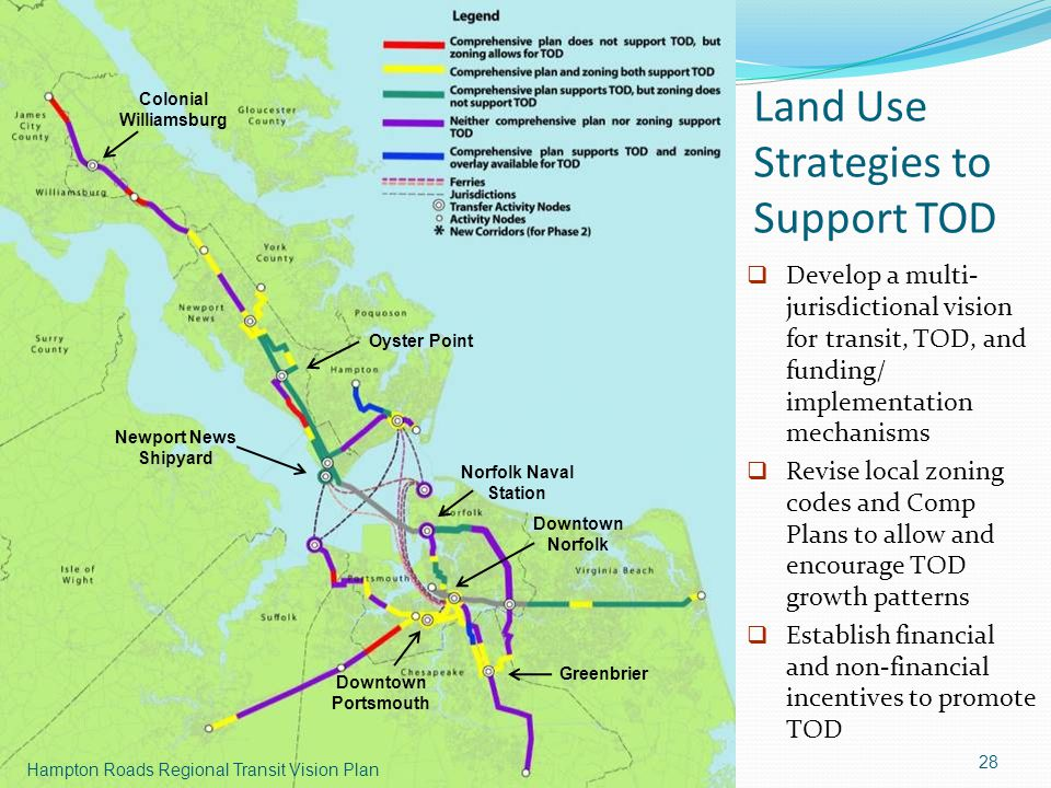 Land Use Strategies to Support TOD 28 Hampton Roads Regional Transit Vision Plan Norfolk Naval Station Downtown Norfolk Newport News Shipyard Greenbrier Oyster Point Colonial Williamsburg Downtown Portsmouth  Develop a multi- jurisdictional vision for transit, TOD, and funding/ implementation mechanisms  Revise local zoning codes and Comp Plans to allow and encourage TOD growth patterns  Establish financial and non-financial incentives to promote TOD