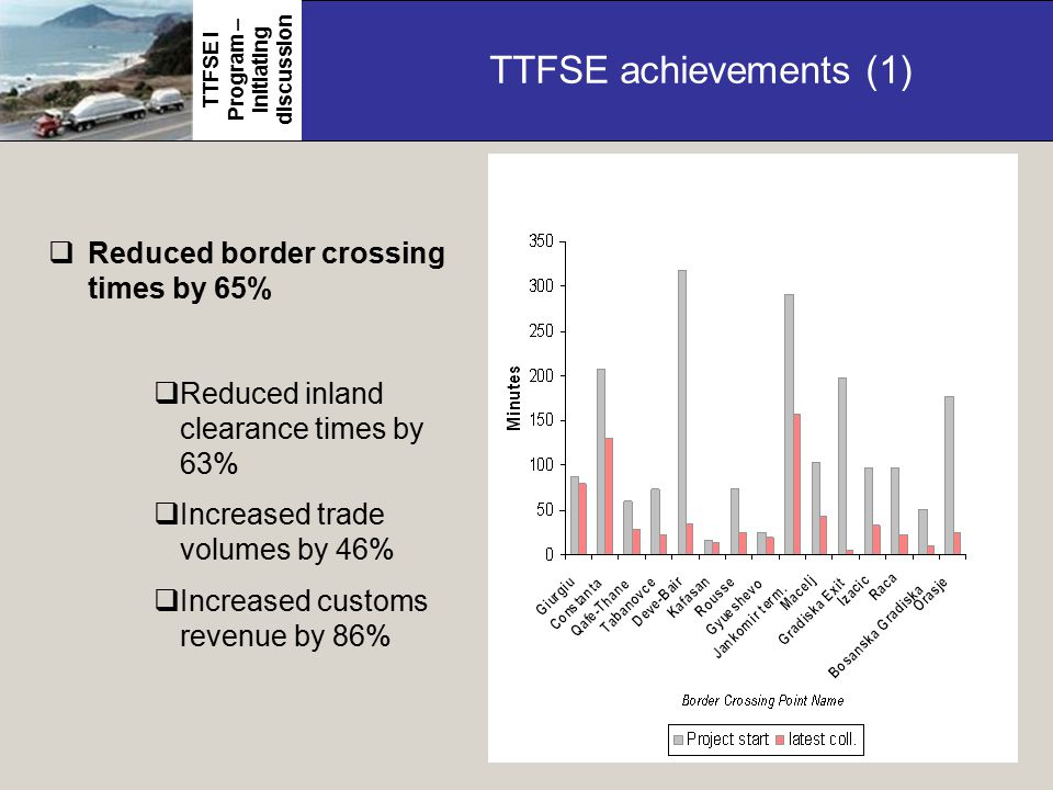TTFSE achievements (1)  Reduced border crossing times by 65%  Reduced inland clearance times by 63%  Increased trade volumes by 46%  Increased customs revenue by 86% TTFSE I Program – initiating discussion