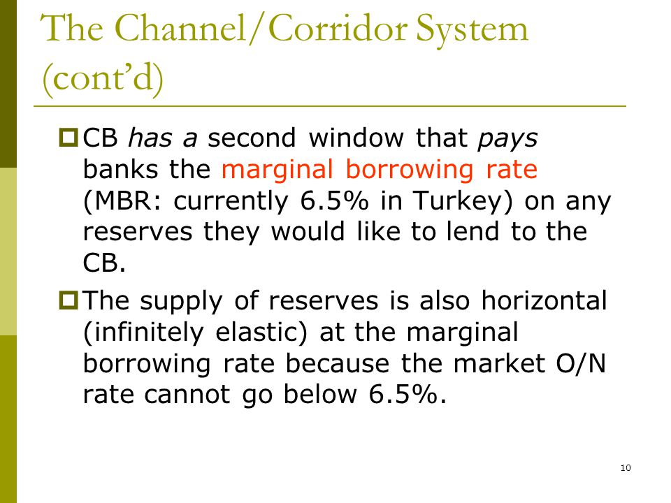 10 The Channel/Corridor System (cont'd)  CB has a second window that pays banks the marginal borrowing rate (MBR: currently 6.5% in Turkey) on any reserves they would like to lend to the CB.