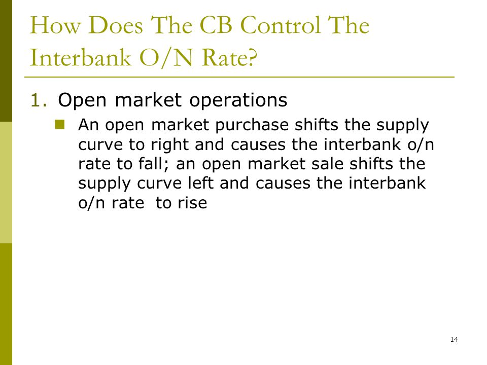 14 How Does The CB Control The Interbank O/N Rate.
