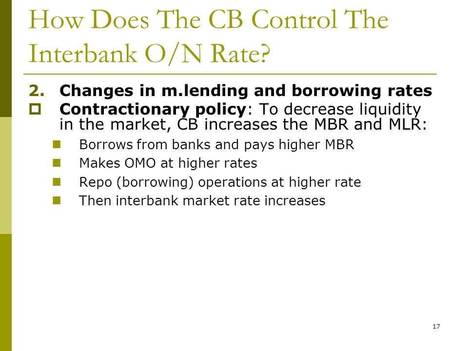 How Does The CB Control The Interbank O/N Rate.