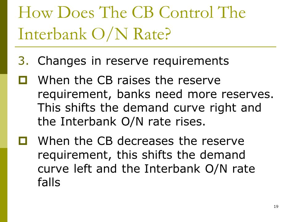 19 How Does The CB Control The Interbank O/N Rate.