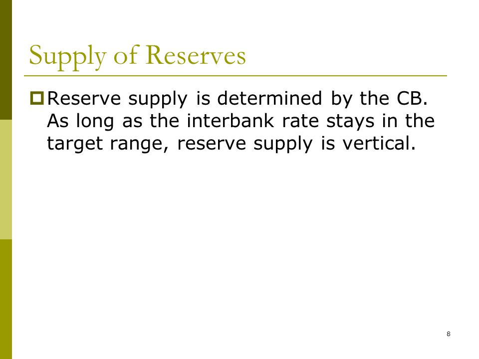 8 Supply of Reserves  Reserve supply is determined by the CB.
