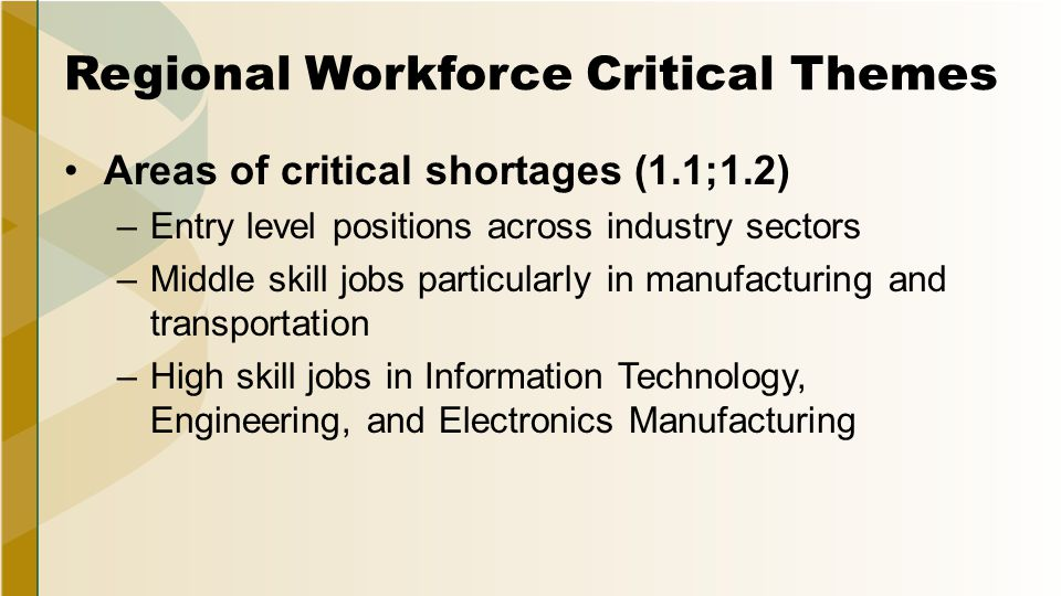 Regional Workforce Critical Themes Areas of critical shortages (1.1;1.2) –Entry level positions across industry sectors –Middle skill jobs particularly in manufacturing and transportation –High skill jobs in Information Technology, Engineering, and Electronics Manufacturing