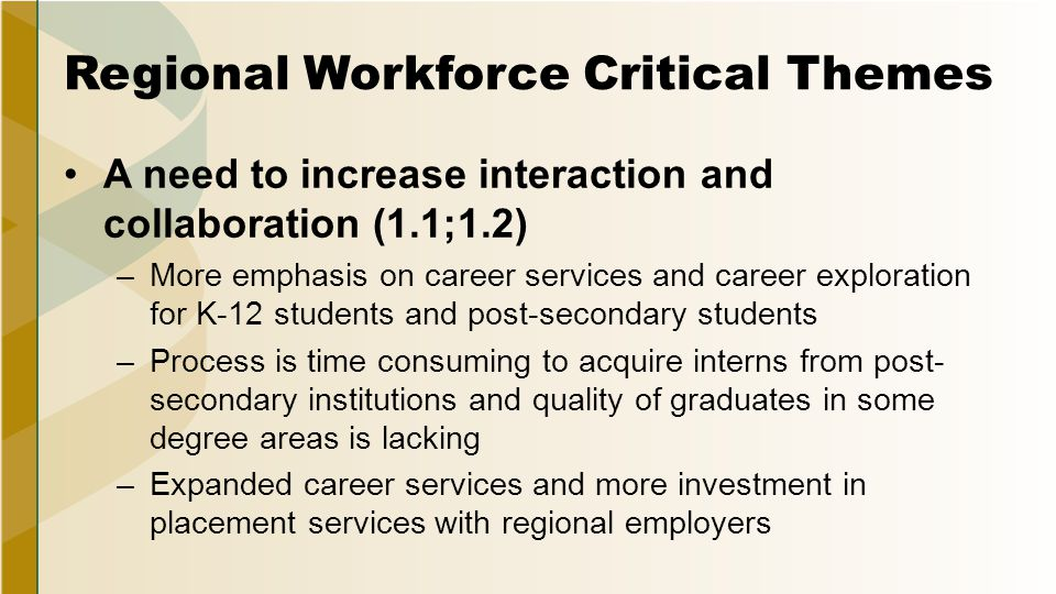 Regional Workforce Critical Themes A need to increase interaction and collaboration (1.1;1.2) –More emphasis on career services and career exploration for K-12 students and post-secondary students –Process is time consuming to acquire interns from post- secondary institutions and quality of graduates in some degree areas is lacking –Expanded career services and more investment in placement services with regional employers