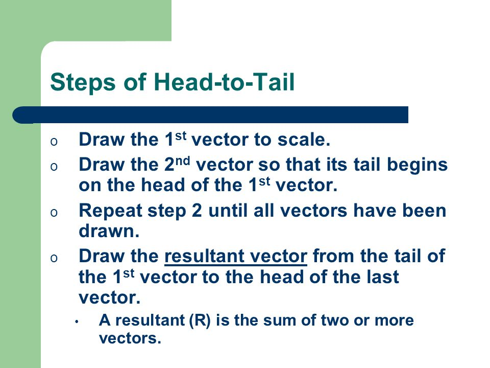 Steps of Head-to-Tail o Draw the 1 st vector to scale.