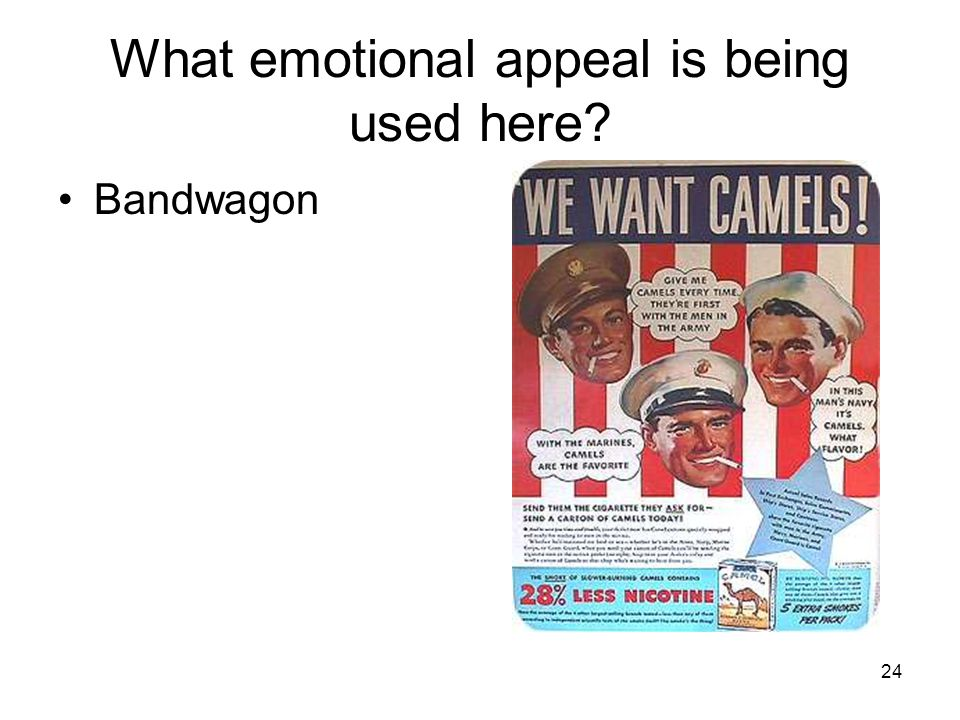 What emotional appeal is being used here Bandwagon 24