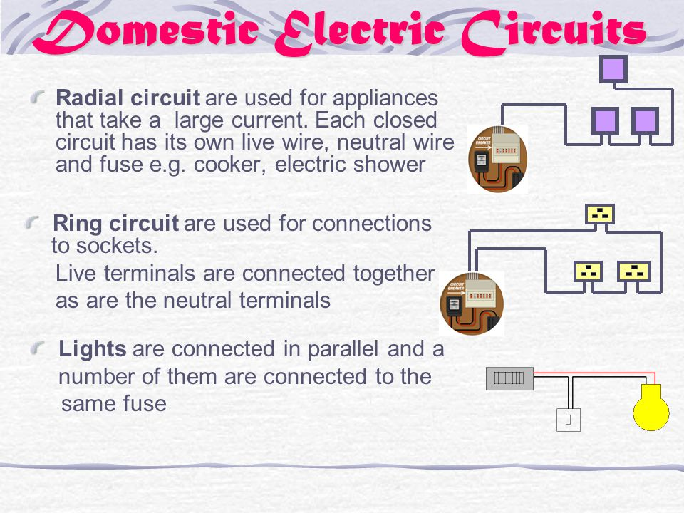 Domestic Electric Circuits Radial circuit are used for appliances that take a large current.