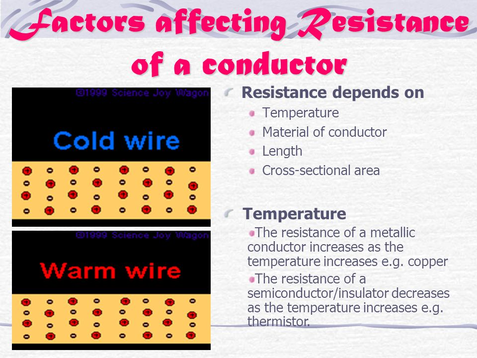 Factors affecting Resistance of a conductor Resistance depends on Temperature Material of conductor Length Cross-sectional area Temperature The resistance of a metallic conductor increases as the temperature increases e.g.