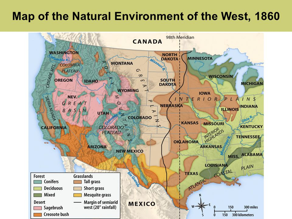 Americas history sixth edition chapter 16 the american west 3 map of the natural environment of the west 1860 publicscrutiny Gallery