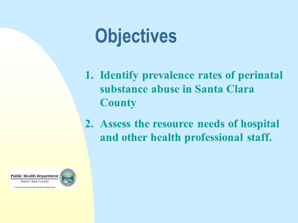 Objectives 1.Identify prevalence rates of perinatal substance abuse in Santa Clara County 2.Assess the resource needs of hospital and other health professional staff.