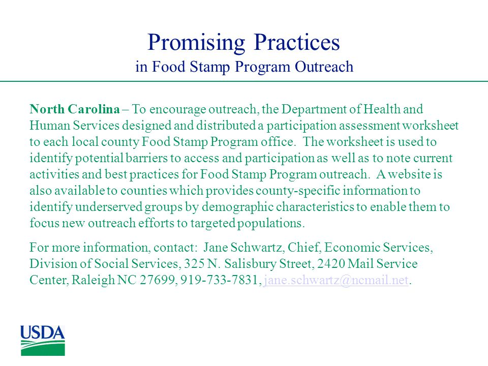 Promising Practices In Food Stamp Program Outreach North Carolina To Encourage The Department