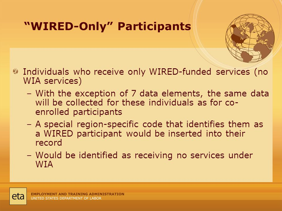 WIRED-Only Participants Individuals who receive only WIRED-funded services (no WIA services) –With the exception of 7 data elements, the same data will be collected for these individuals as for co- enrolled participants –A special region-specific code that identifies them as a WIRED participant would be inserted into their record –Would be identified as receiving no services under WIA