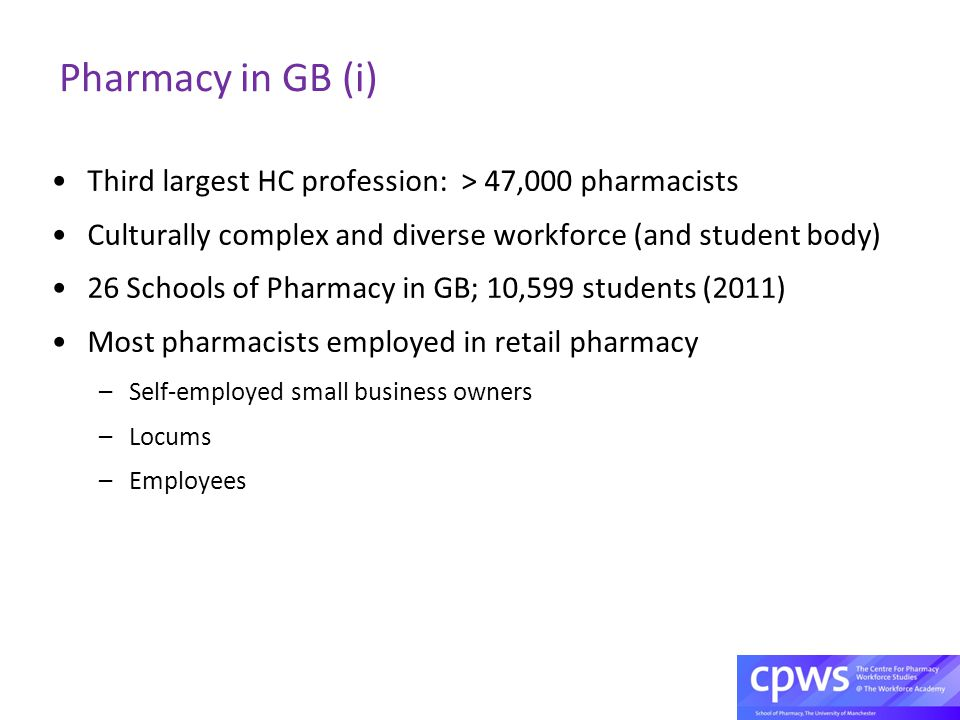 Pharmacy in GB (i) Third largest HC profession: > 47,000 pharmacists Culturally complex and diverse workforce (and student body) 26 Schools of Pharmacy in GB; 10,599 students (2011) Most pharmacists employed in retail pharmacy –Self-employed small business owners –Locums –Employees
