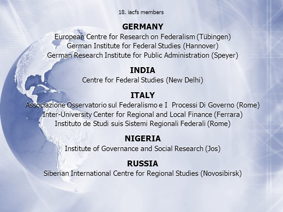 GERMANY European Centre for Research on Federalism (Tübingen) German Institute for Federal Studies (Hannover) German Research Institute for Public Administration (Speyer) INDIA Centre for Federal Studies (New Delhi) ITALY Associazione Osservatorio sul Federalismo e I Processi Di Governo (Rome) Inter-University Center for Regional and Local Finance (Ferrara) Instituto de Studi suis Sistemi Regionali Federali (Rome) NIGERIA Institute of Governance and Social Research (Jos) RUSSIA Siberian International Centre for Regional Studies (Novosibirsk) GERMANY European Centre for Research on Federalism (Tübingen) German Institute for Federal Studies (Hannover) German Research Institute for Public Administration (Speyer) INDIA Centre for Federal Studies (New Delhi) ITALY Associazione Osservatorio sul Federalismo e I Processi Di Governo (Rome) Inter-University Center for Regional and Local Finance (Ferrara) Instituto de Studi suis Sistemi Regionali Federali (Rome) NIGERIA Institute of Governance and Social Research (Jos) RUSSIA Siberian International Centre for Regional Studies (Novosibirsk) 18.