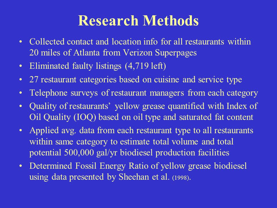 Community Based Biodiesel Production From Restaurant Yellow