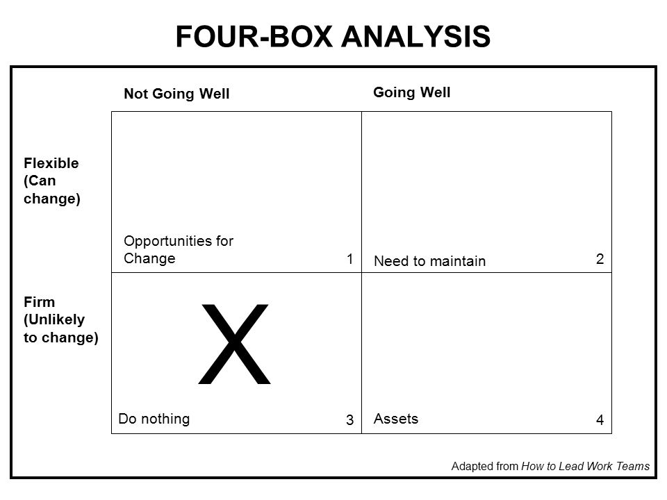 FOUR-BOX ANALYSIS Not Going Well Going Well Flexible (Can change) Firm (Unlikely to change) Opportunities for Change Need to maintain Do nothingAssets X Adapted from How to Lead Work Teams