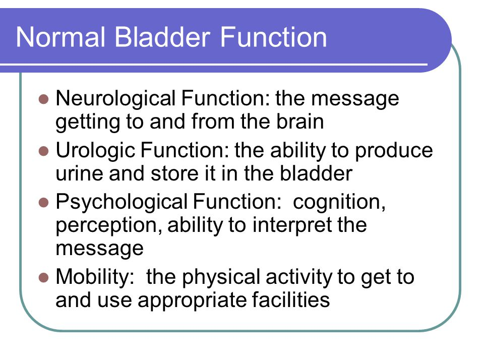 Normal Bladder Function Neurological Function: the message getting to and from the brain Urologic Function: the ability to produce urine and store it in the bladder Psychological Function: cognition, perception, ability to interpret the message Mobility: the physical activity to get to and use appropriate facilities