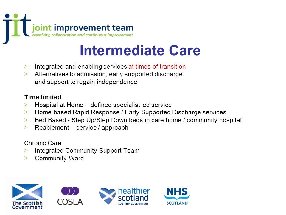 Intermediate Care >Integrated and enabling services at times of transition >Alternatives to admission, early supported discharge and support to regain independence Time limited >Hospital at Home – defined specialist led service >Home based Rapid Response / Early Supported Discharge services >Bed Based - Step Up/Step Down beds in care home / community hospital >Reablement – service / approach Chronic Care >Integrated Community Support Team >Community Ward