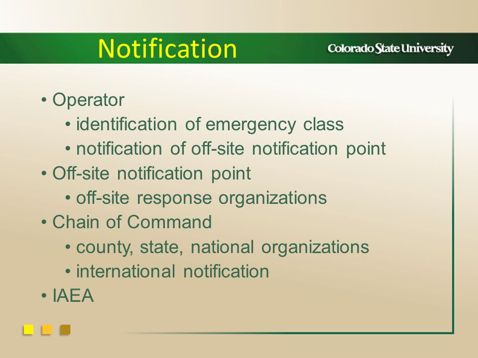 Operator identification of emergency class notification of off-site notification point Off-site notification point off-site response organizations Chain of Command county, state, national organizations international notification IAEA Notification