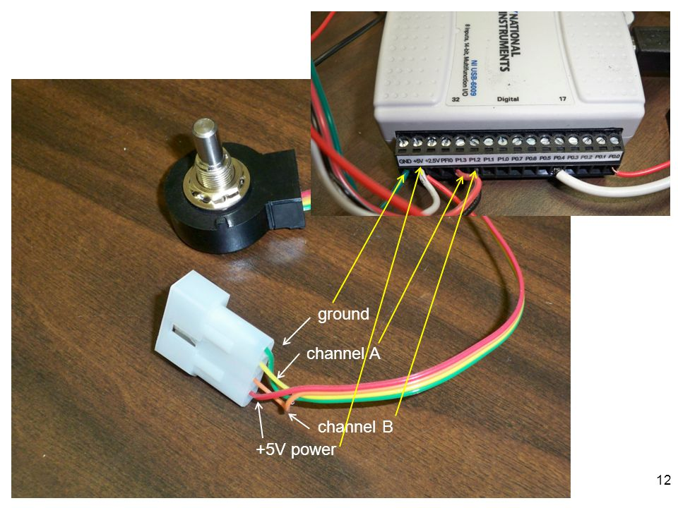 +5V power ground channel A channel B 12