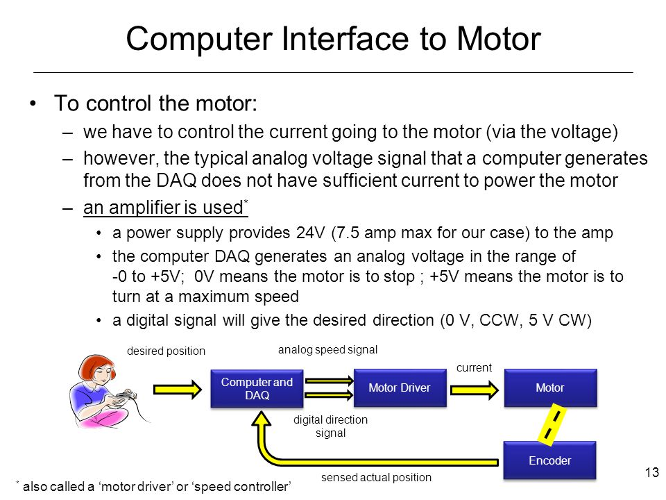 EML 2023 Department of Mechanical and Aerospace Engineering Computer Interface to Motor To control the motor: –we have to control the current going to the motor (via the voltage) –however, the typical analog voltage signal that a computer generates from the DAQ does not have sufficient current to power the motor –an amplifier is used * a power supply provides 24V (7.5 amp max for our case) to the amp the computer DAQ generates an analog voltage in the range of -0 to +5V; 0V means the motor is to stop ; +5V means the motor is to turn at a maximum speed a digital signal will give the desired direction (0 V, CCW, 5 V CW) * also called a 'motor driver' or 'speed controller' Motor Driver desired position current Computer and DAQ Motor analog speed signal digital direction signal Encoder sensed actual position 13