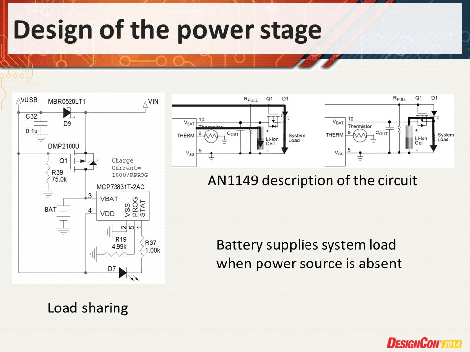 Design of the power stage Load sharing AN1149 description of the circuit Battery supplies system load when power source is absent