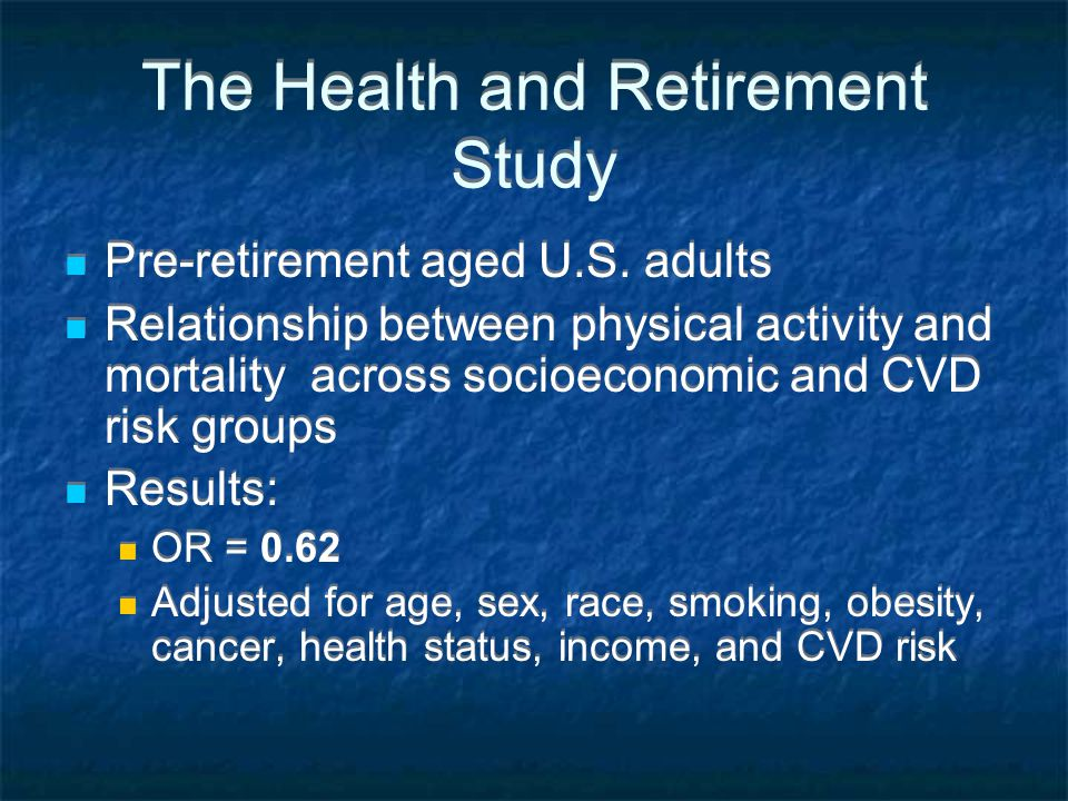 The Health and Retirement Study Pre-retirement aged U.S.
