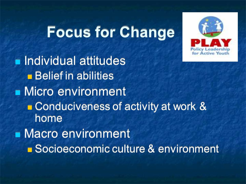 Focus for Change Individual attitudes Belief in abilities Micro environment Conduciveness of activity at work & home Macro environment Socioeconomic culture & environment Individual attitudes Belief in abilities Micro environment Conduciveness of activity at work & home Macro environment Socioeconomic culture & environment