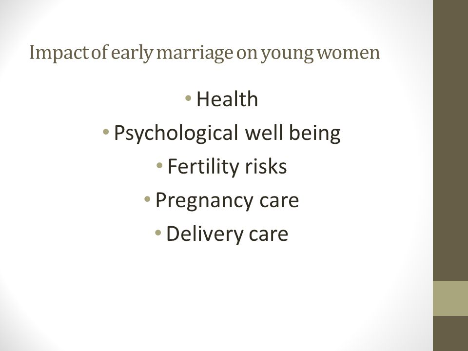 Impact of early marriage on young women Health Psychological well being Fertility risks Pregnancy care Delivery care