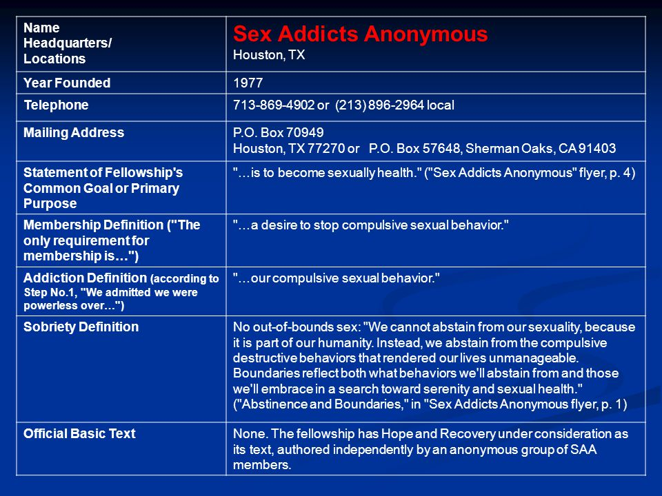 Sex addicts anonymous sherman hospital