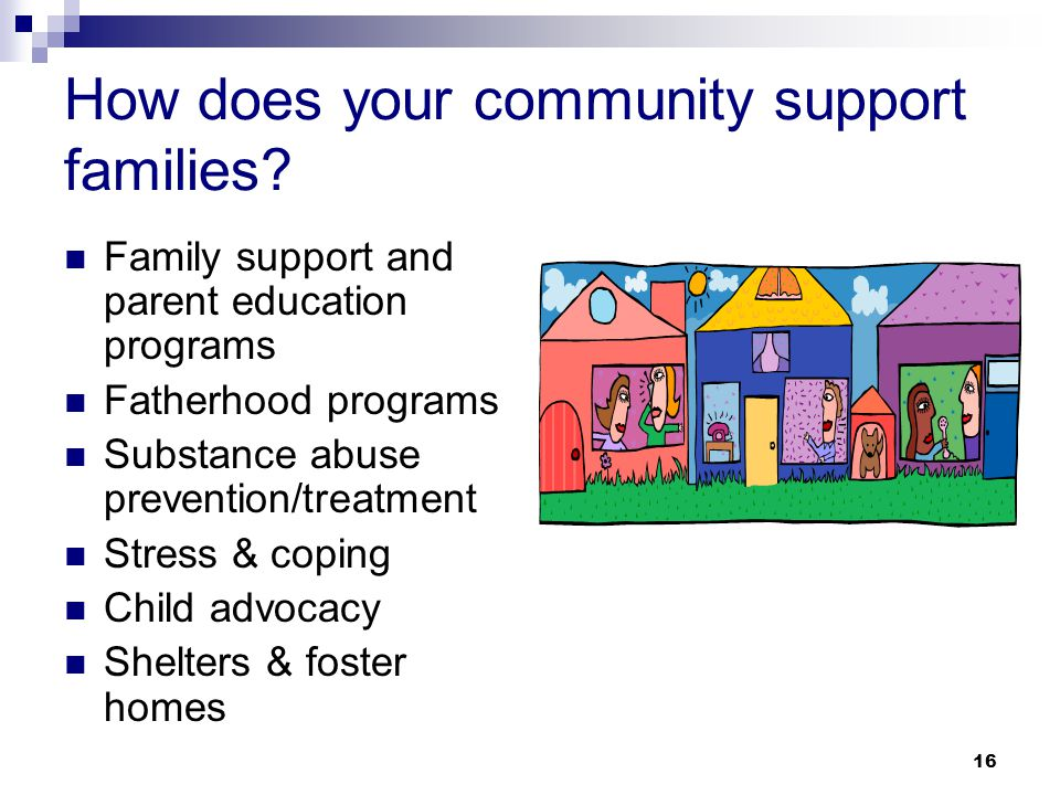 16 How does your community support families.