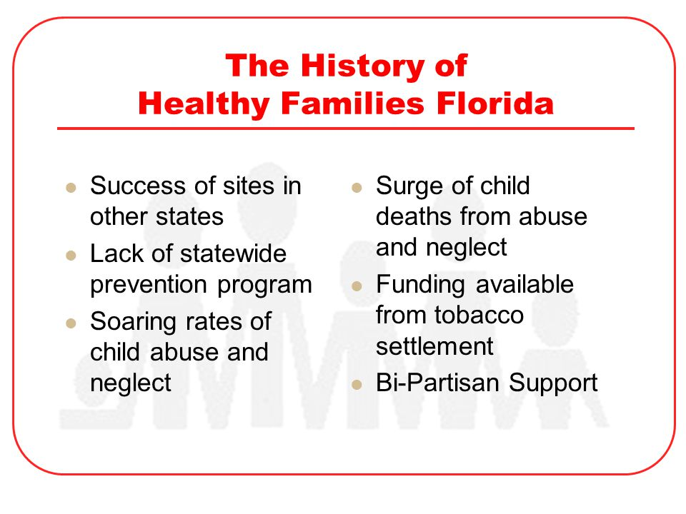The History of Healthy Families Florida Success of sites in other states Lack of statewide prevention program Soaring rates of child abuse and neglect Surge of child deaths from abuse and neglect Funding available from tobacco settlement Bi-Partisan Support