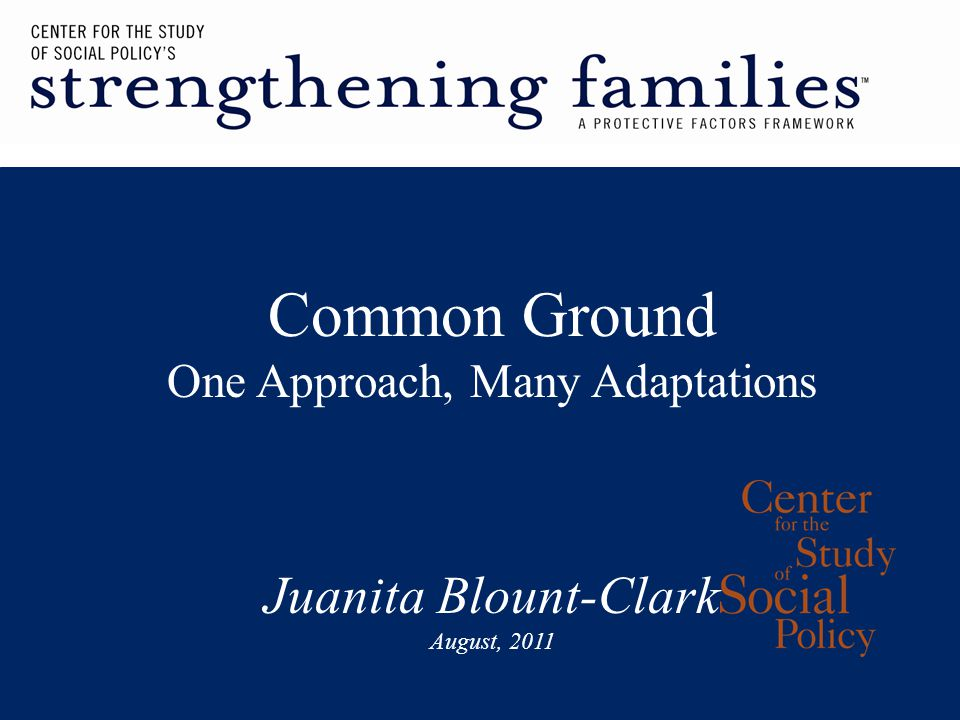 Common Ground One Approach, Many Adaptations Juanita Blount-Clark August, 2011