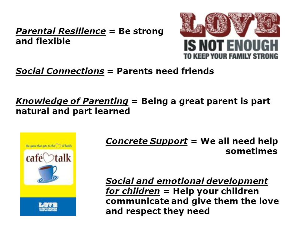 Parental Resilience = Be strong and and flexible Social Connections = Parents need friends Knowledge of Parenting = Being a great parent is part natural and part learned Concrete Support = We all need help sometimes Social and emotional development for children = Help your children communicate and give them the love and respect they need