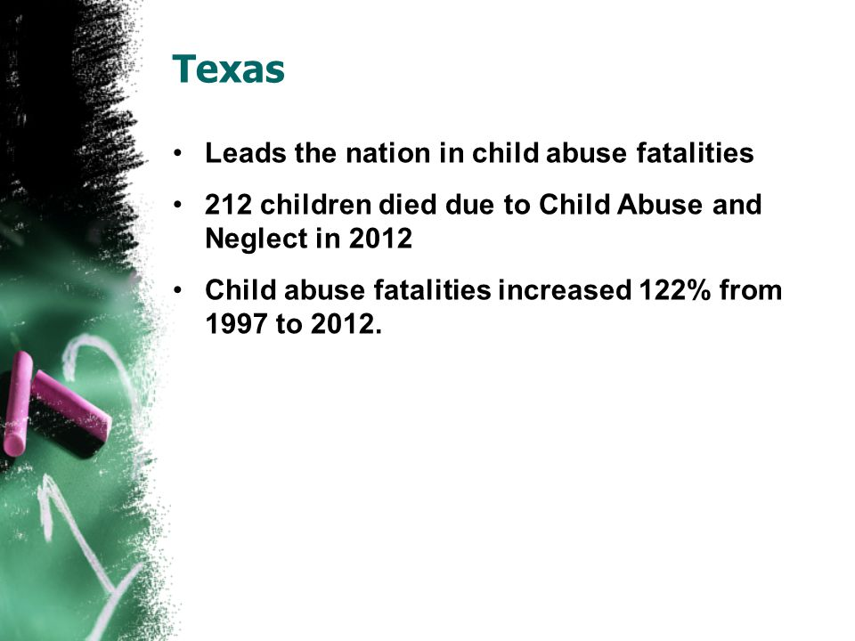 Texas Leads the nation in child abuse fatalities 212 children died due to Child Abuse and Neglect in 2012 Child abuse fatalities increased 122% from 1997 to 2012.