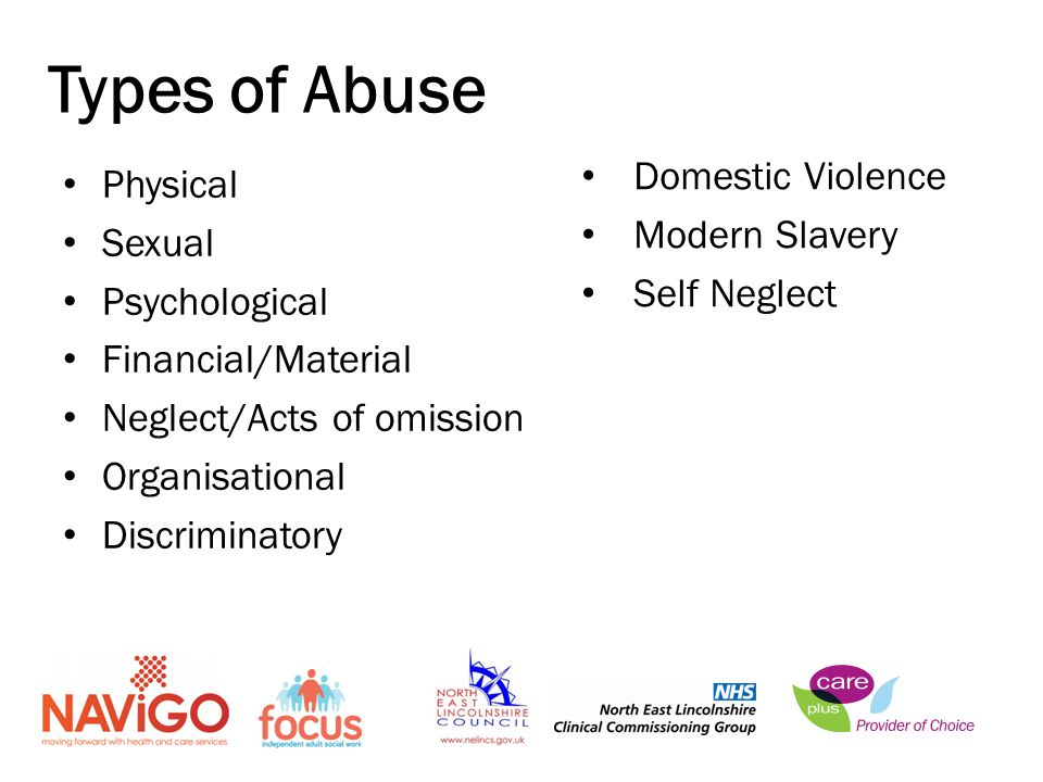 Physical Sexual Psychological Financial/Material Neglect/Acts of omission Organisational Discriminatory Types of Abuse Domestic Violence Modern Slavery Self Neglect
