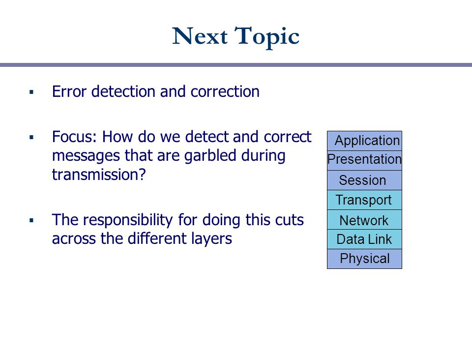 Next Topic  Error detection and correction  Focus: How do we detect and correct messages that are garbled during transmission.