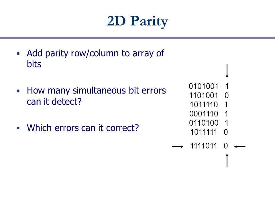 2D Parity  Add parity row/column to array of bits  How many simultaneous bit errors can it detect.