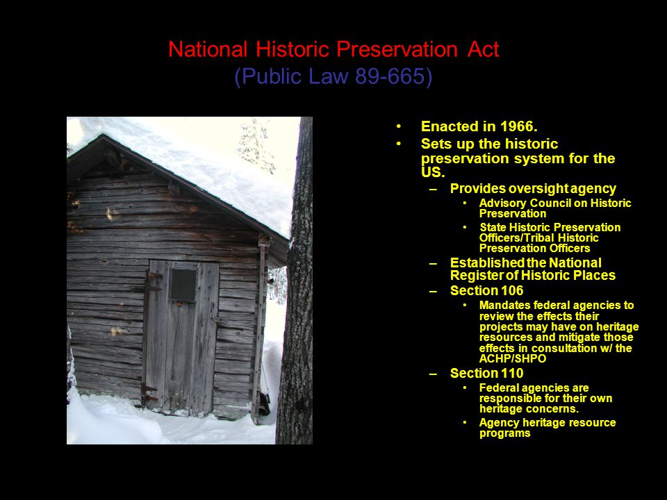 National Historic Preservation Act Public Law Enacted In 1966