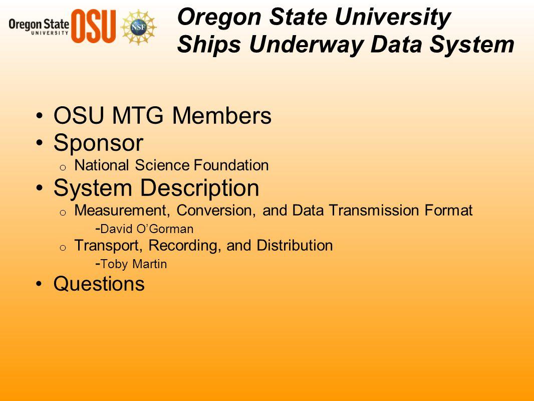 Oregon State University Marine Technical Group SUDS Upgrade. - ppt ...