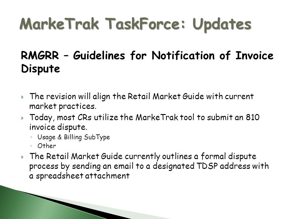 rmgrr guidelines for notification of invoice dispute the revision will align the retail market