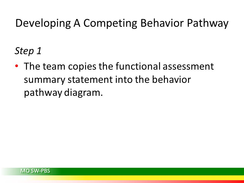 MO SW-PBS Developing A Competing Behavior Pathway Step 1 The team copies the functional assessment summary statement into the behavior pathway diagram.